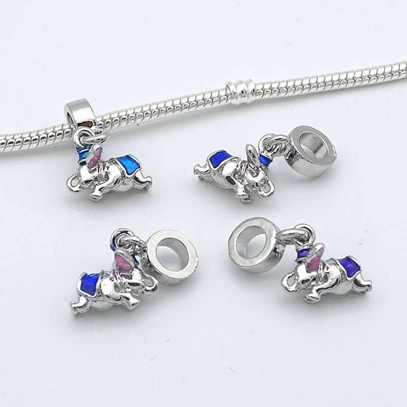 Free shipping 1PC Silver Blue Dumbo Dangle Beads Charms Fits Pandora Charm Bracelets DIY Fashion Jewelry