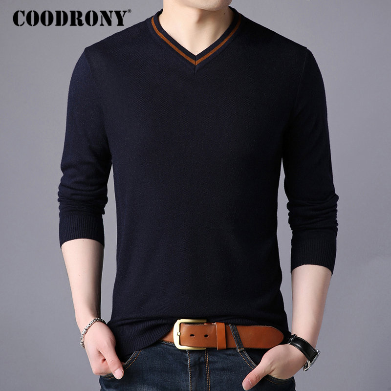 COODRONY Brand Sweater Men Streetwear Fashion V-Neck Pullover Men Knitwear Pull Homme Autumn Winter New Mens Wool Sweaters 91062