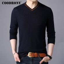 COODRONY מותג סוודר גברים Streetwear אופנה צווארון V סוודר גברים סריגי למשוך Homme סתיו חורף חדש Mens צמר סוודרים 91062