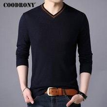 COODRONY marka sweter mężczyźni Streetwear moda sweter z dekoltem typu v neck mężczyźni dzianina Pull Homme jesienno zimowa nowe męskie swetry wełniane 91062