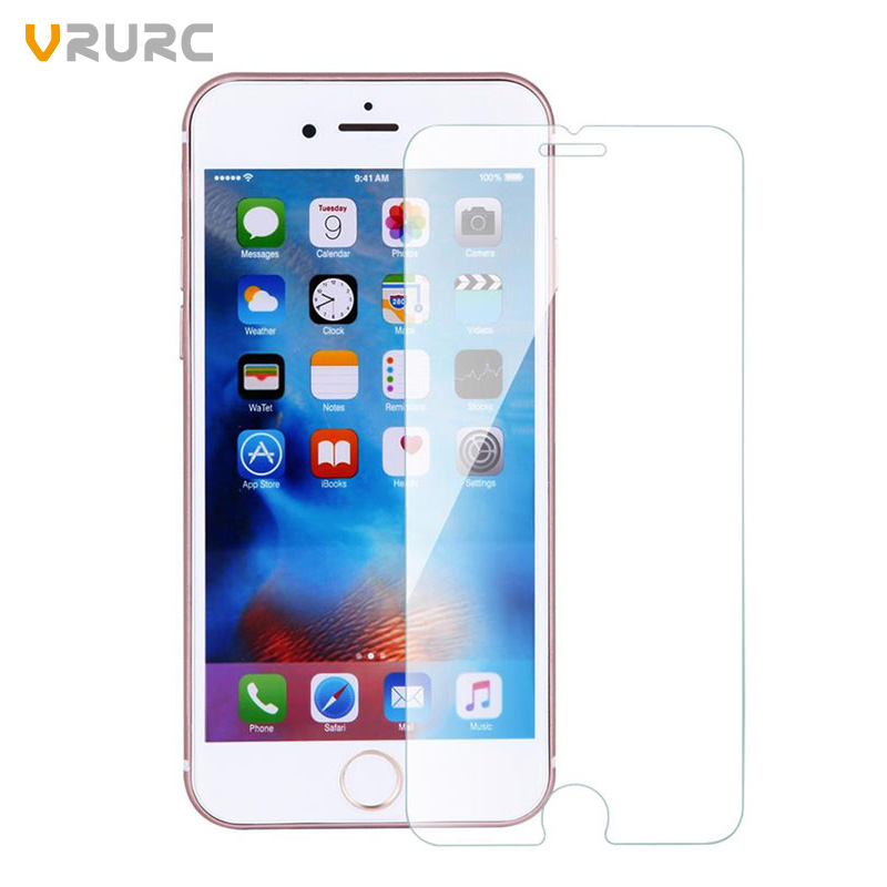 Vrurc tempered glass For iphone 4s 5 5s 5c SE 6 6s 7 plus screen protector protective guard film front case cover+clean kits