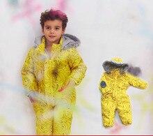Детский желтый банан мальчик девочка Лыжный Комбинезон Верхняя одежда Зима Теплая Снег Костюм водонепроницаемый ветрозащитный мягкий