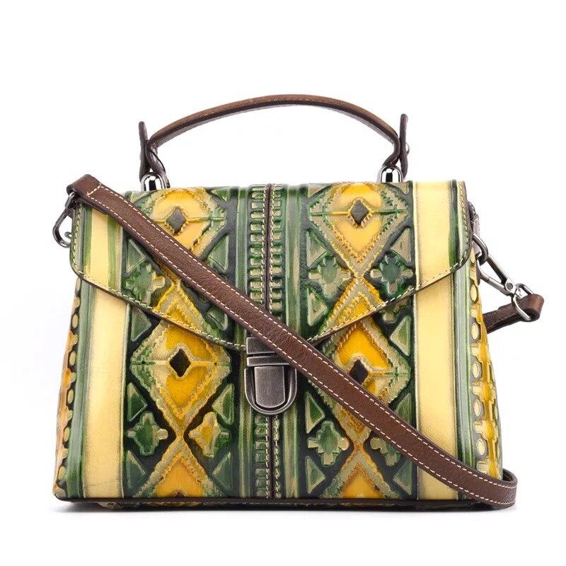 Embossing Geometric Designer Genuine Leather Vintage Women's Small Purse Handbag Female Lattice Single Shoulder Messenger bag 2017 newest geometric embossing design 100