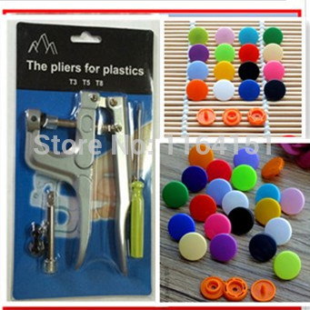 1pcs KAM Button Fastener Plastic Snap Pliers+200 set T5 Resin Press Stud Cloth Diaper [you can choose the colors] botoes