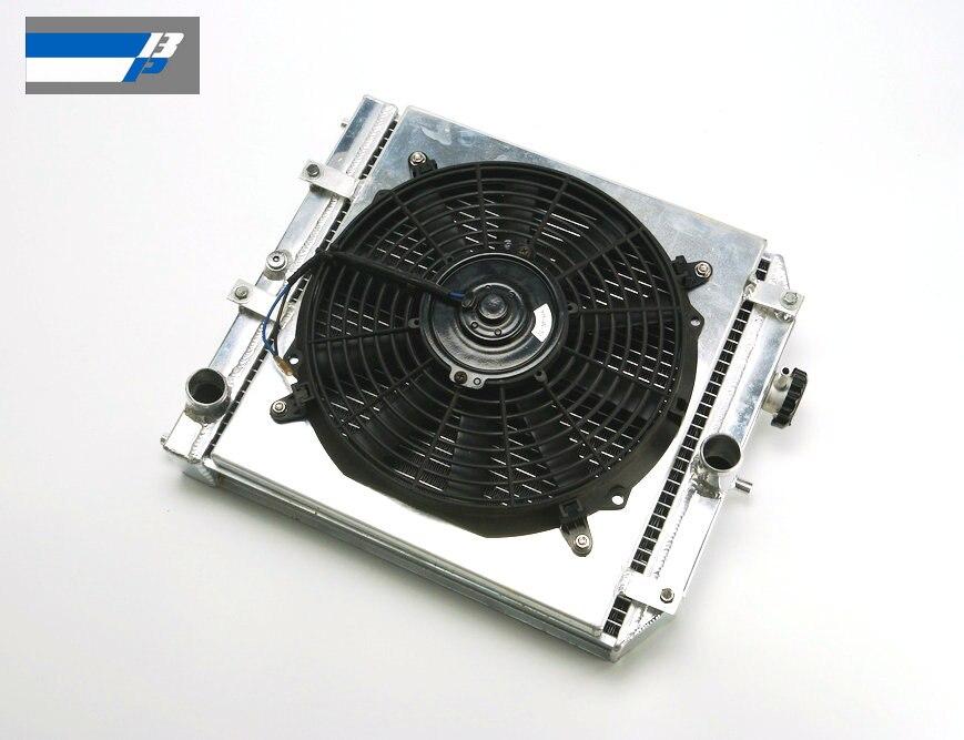 56mm Aluminum Radiator + Shroud + Fan For 92-00 Honda Civic EK EG B16 B18