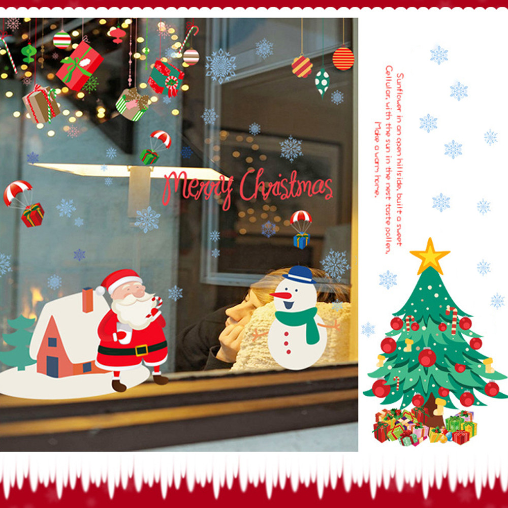 christmas decorations for home wall stickers posters merry christmas home decor mural decal vinilos paredes