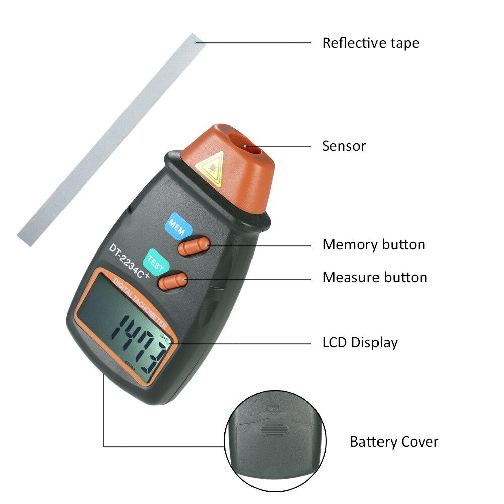Handheld Laser Digital Tacômetro RPM Medidor de Não Contato Do Motor Torno  Medidor de Velocidade Revolução Rotação DT2234C Testador de Velocidade em  ... 54c60f79b3