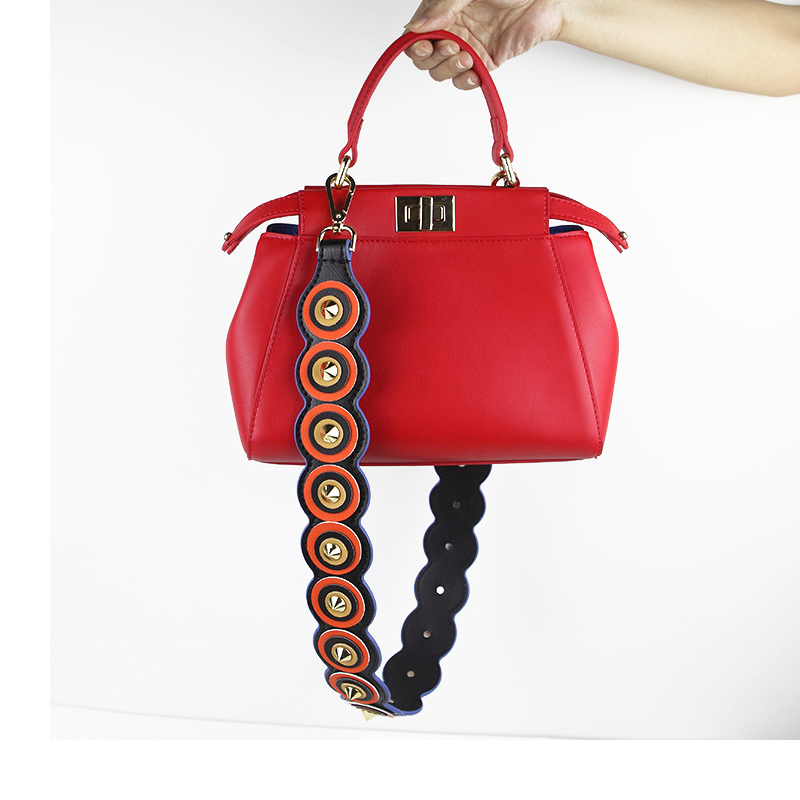c7696b29cff5c4 New Block Color Leather Handbag Accessories Rivet Strap You Bag Straps Wide  PU Women Shoulder Belt Ripple Bag Handles-in Bag Parts & Accessories from  ...