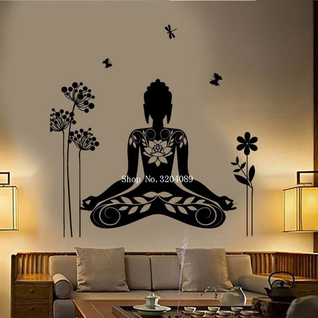 buddha wall stickers home decoration meditation mantra flower
