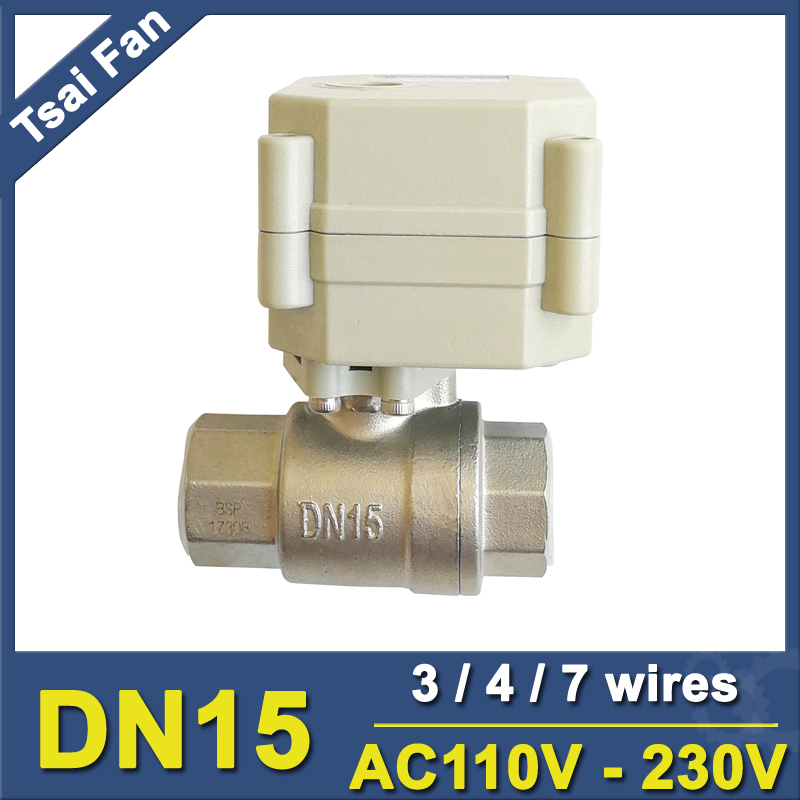 AC110 230V 3 4 7 Wires DN15 Electric Ball Valve TF15 S2 C BSP NPT 1