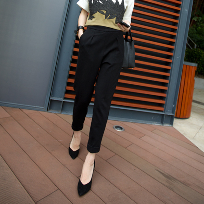 Women fashion Korean yards thin nine points leisure suit female loose harem pants tapered pants feet lady trousers S2722
