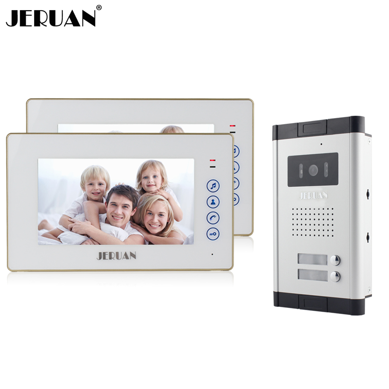 JERUAN New Apartment 7 inch Touch key Video Intercom Door Phone System 2 White Monitor 1 HD IR Camera for 2 Household jeruan new apartment 7 inch touch key video intercom door phone system 2 white monitor 1 hd ir camera for 2 household