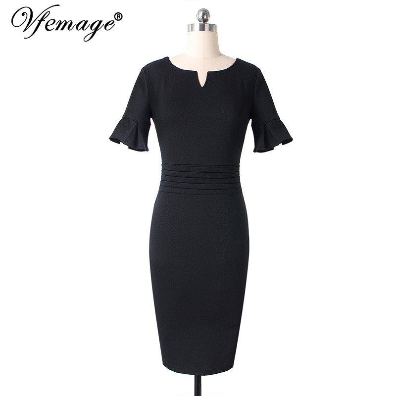 5b0c4c7231 Aliexpress.com   Buy Vfemage Women Elegant Ruffle Ruched Flare Bell Sleeve  Casual Work Office Business Cocktail Party Bodycon Pencil Sheath Dress 375  from ...