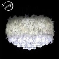 Современные мечтательный перо кристалл подвесной светильник E27 220 В светодио дный Блеск подвеска лампа светильник спальня гостиная прихожа