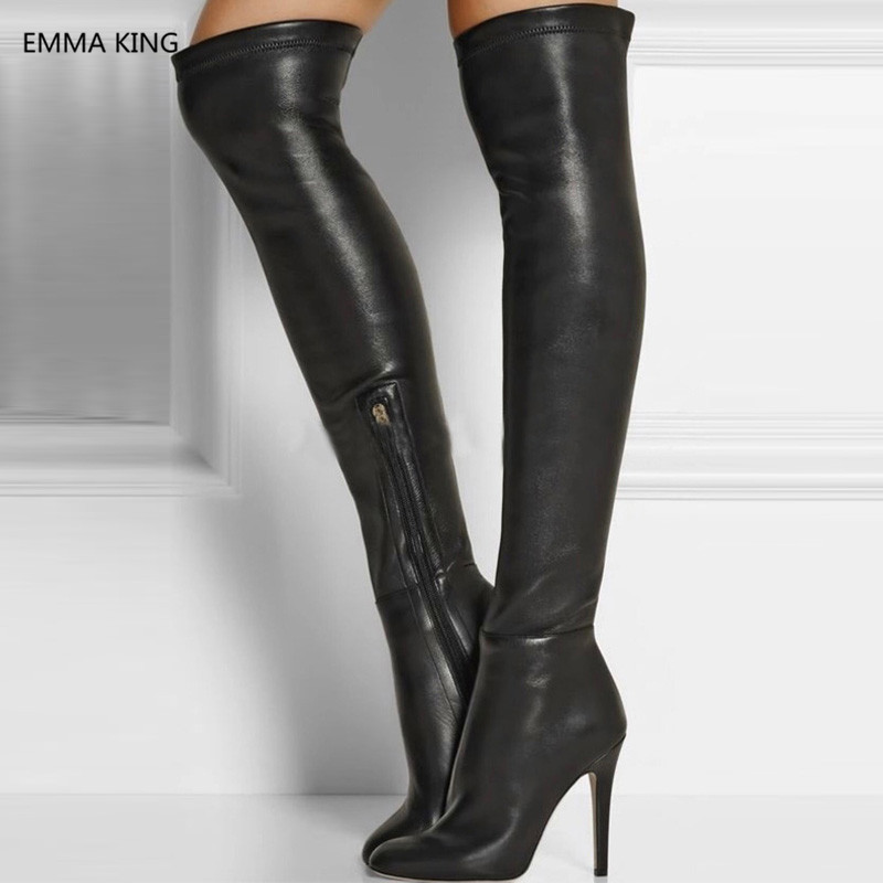 New Black Stretch Women Winter Thigh High Boots Leather Round Toe High Heels Shoes Stilettos Sexy Ladies Over The Knee Long Boot