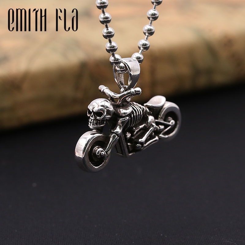 925 Sterling Silver Harley Moto Skeleton Necklace Pendants For Women And Men Fashion Jewelry Vintage Punk Design Pendant