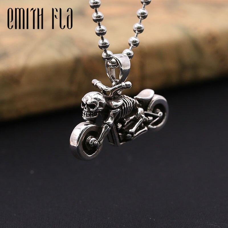 925 Sterling argent Harley Moto squelette collier pendentifs pour femmes et hommes mode bijoux Vintage Punk Design pendentif