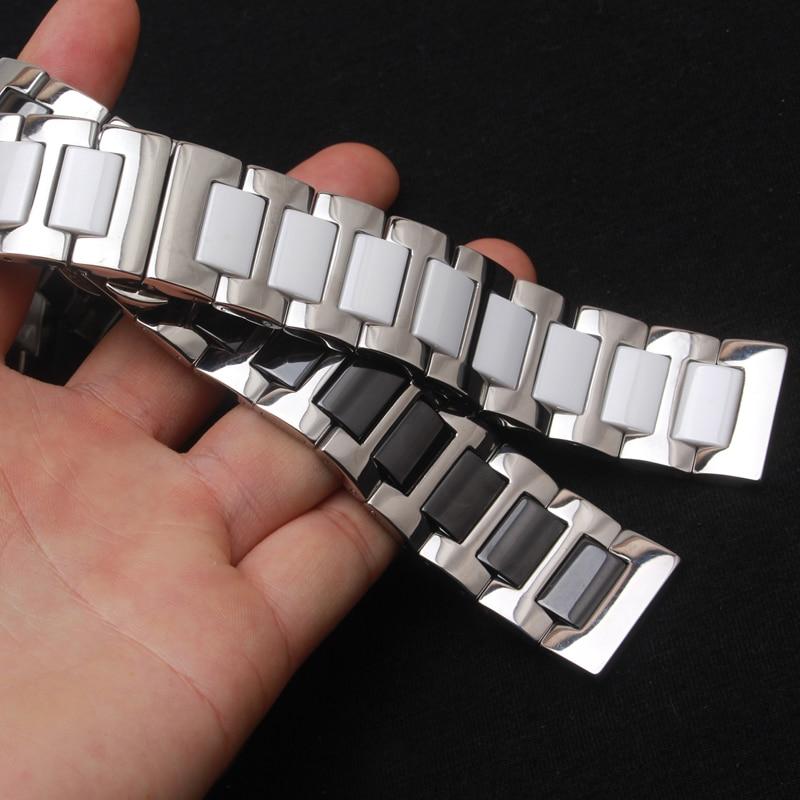 Hvid sort keramik urbånd mode stil armbånd armbånd metal spænde 16mm 18mm 20mm 22mm ur tilbehør mænd kvinder