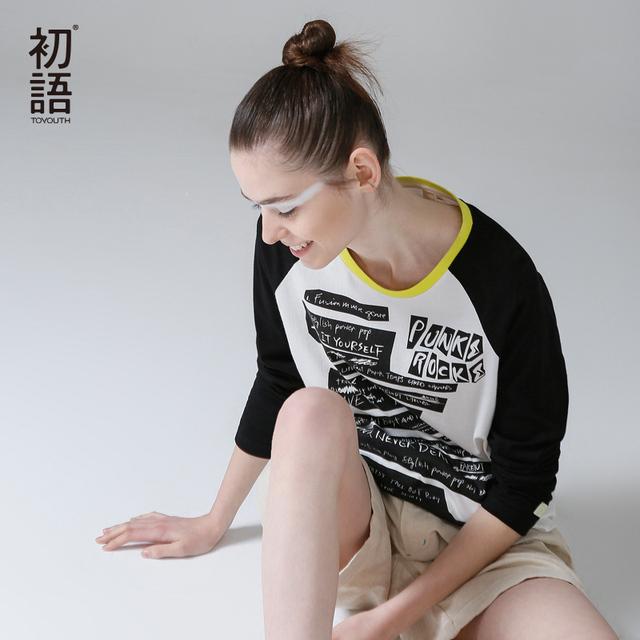 Toyouth camiseta de las mujeres 2017 otoño patchwork de manga larga del o-cuello de caracteres impresos tops casuales de algodón