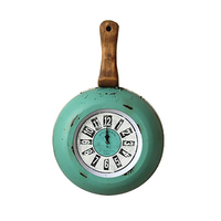 Pan Retro American Creative Clock French Antique Wooden Wall Clock Vintage Kitchen Reloj Pared Vintage Shabby Chic Kitchen Watch
