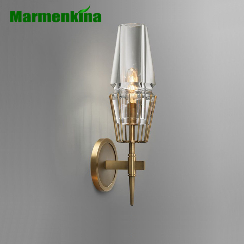 Modern copper-plated wall lamp lobby living room wall bedroom aisle lamp hotel bedside lamp post-modern wall light american simple bamboo wall lamps creative personality post modern living room bedroom bedside lamp hotel aisle study wall light