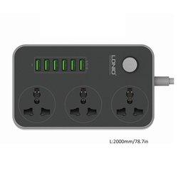 3 Socket + 6 Portas USB USB Régua De Energia Tomada Protetor Contra Surtos Casa Inteligente Placa de Carregamento Rápido Para Casa Remendo Extensão para UE/EUA/REINO UNIDO