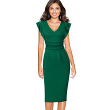 Vfemage Womens Elegant Ruched Flounce Ruffle Flutter Sleeve Work Business Office Cocktail Party Fitted Bodycon Pencil Dress 2355