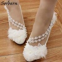 Sorbern White Flowers Wedding Shoes Cute Round Toe Beads Kitten Heels Ladies Pumps Women Shoes 3Cm/4.5Cm/8Cm Bridal Shoes 2018