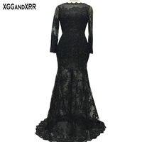Charming Black Lace Long Sleeves Mermaid Evening Dresses 2018 V Back Appliques Floor Length Sweep Train Vestido De Festa