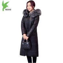 Plus Size 6XL Boutique Women Winter PU Leather Coat New Fashion Plus Cotton Jacket Hooded Fur Collar Windproof Warm Coat OKXGNZ