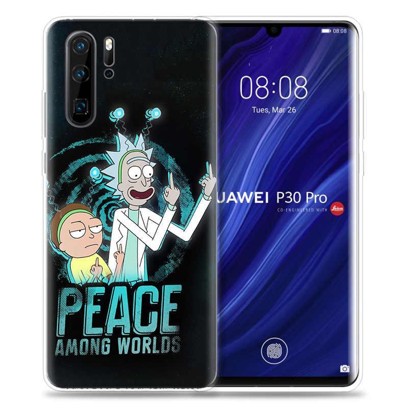 Funda para Huawei P30 P20 P10 P9 Mate 10 20 Lite Pro bolsa para teléfono móvil P Smart Z 2019 más Rick y Morty negro dibujos animados P8 P30