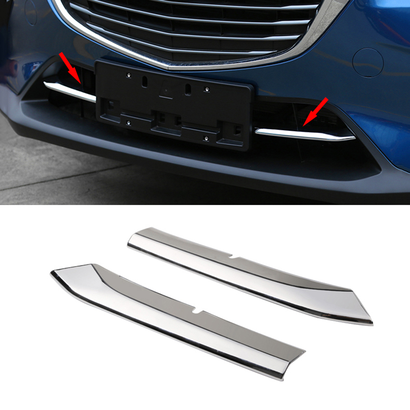 ABS Chrome Car front grille trims for <font><b>mazda</b></font> <font><b>cx</b></font>-<font><b>3</b></font> <font><b>cx</b></font> <font><b>3</b></font> cx3 2016 <font><b>2017</b></font> 2018 Front Bumper Air-inlet Grille 2pcs image