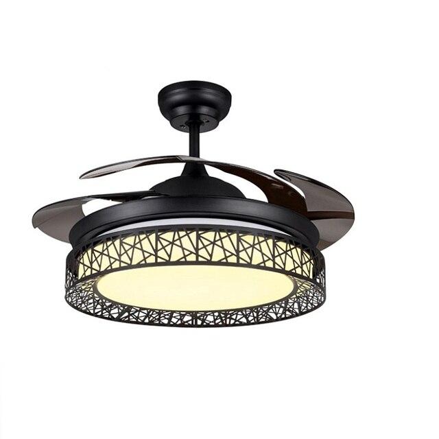 מודרני תקרת אוהד Ventilador דה Teto שלט רחוק עם אורות Invisiable LED מתקפל מאוורר תקרת חדר אוכל מנורה