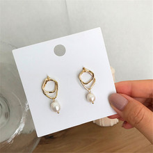 Ms earrings geometric natural freshwater pearl stud fashion female temperament joker
