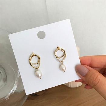 Ms earrings geometric natural freshwater pearl stud fashion female temperament joker