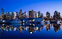 Vancouver Canada city night lights buildings sea yacht reflection 4 Sizes Silk Fabric Canvas Poster Print(China)