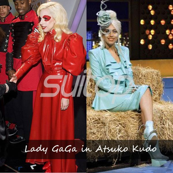 Red rubber dress in then same style as Lady GaGa SUITOP Hollywood super star