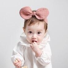 1 шт., 2 цвета, Розовая Повязка на голову для девочек, хлопок, тюрбан, бант, повязка на голову с эластичной тканью, милые аксессуары для волос