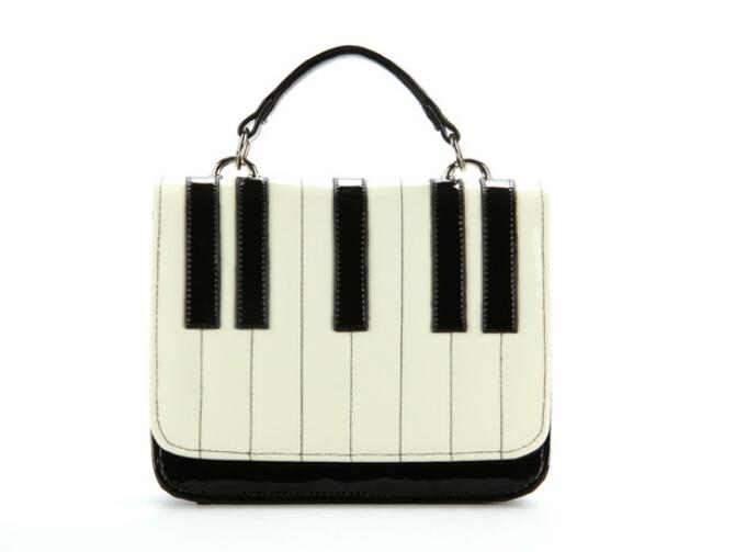 1 piece piano horpsichord sweet black and white color block one shoulder cross-body gentlewomen clutch