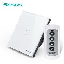 SESOO Interruptor de Controle Remoto 1 Gang 1 Way, branco, RF433 Inteligente Interruptor de Parede, toque interruptor de luz de controle remoto sem fio