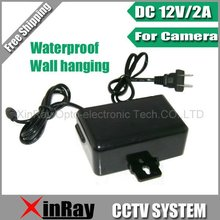 Free Shipping DC 12V 2A Power Supply Adapter  For CCTV Camera,European Wall Hanging Waterproof Outdoor Power Adapter XR-PA1
