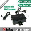 Frete Grátis DC 12 V 2A Adaptador de Alimentação Para CCTV Camera, Tapeçaria Waterproof Power Adapter Outdoor Europeia XR-PA1