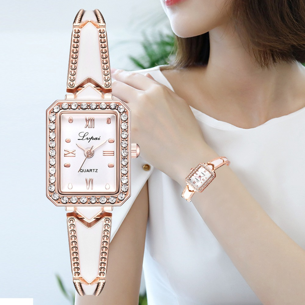 Lvpai Brand Luxury Rhinestone Rectangle Watches Women Quartz Bracelet Watches Ladies DressRose Gold Clock Relogios Kol Saati