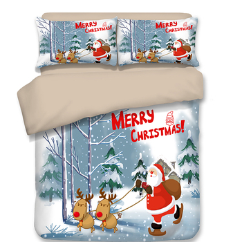 Merry Christmas Decorations Bedding 4ft 5ft 6ft Twin Full Queen Single Double Super King Size Duvet Cover Pillowcase for Kids