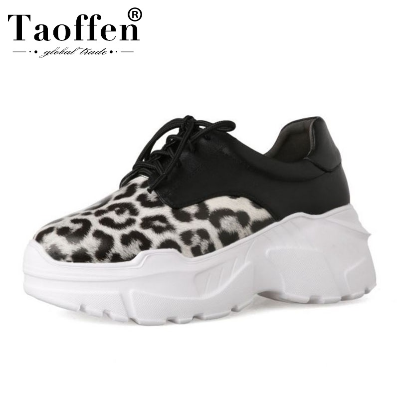 Taoffen Ins Hot Women Sneakers Genuine Leather Sexy Leopard Vulcanized Shoes Walking Comfort Women Leisure Shoes Size 34-39Taoffen Ins Hot Women Sneakers Genuine Leather Sexy Leopard Vulcanized Shoes Walking Comfort Women Leisure Shoes Size 34-39