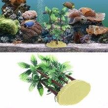 Fish Tank Aquarium Decor Artificial Water Plant Plastic Coconut Tree Ornament Grama