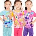 Hot!2016 new pony clothes girls clothing sets kids pajamas children 2 piece sleepwear home fashion 2~7year Ma Baoli super mario