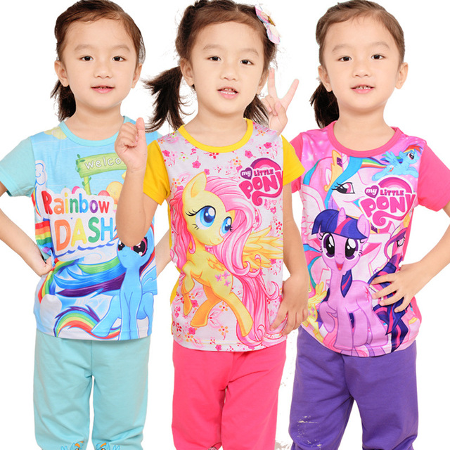edc2e10e51a Hot!2016 new pony clothes girls clothing sets kids pajamas children 2 piece  sleepwear home