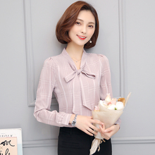 Work Wear 2018 Women Shirt Chiffon Blusas Femininas Tops Elegant Ladies Formal Office Blouse Black White Red Solid Color
