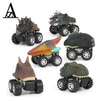 6pcs Dinosaur Pull Back Car Truck Big Tire Wheel Diecasts Vehicles Playset Mini Triceratops Tyrannosaurus Toys for Kids Dinotrux